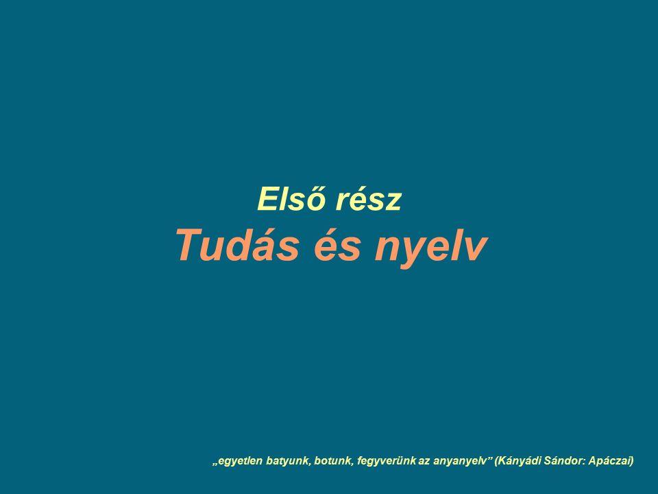 """Első rész Tudás és nyelv """"egyetlen batyunk, botunk, fegyverünk az anyanyelv (Kányádi Sándor: Apáczai)"""
