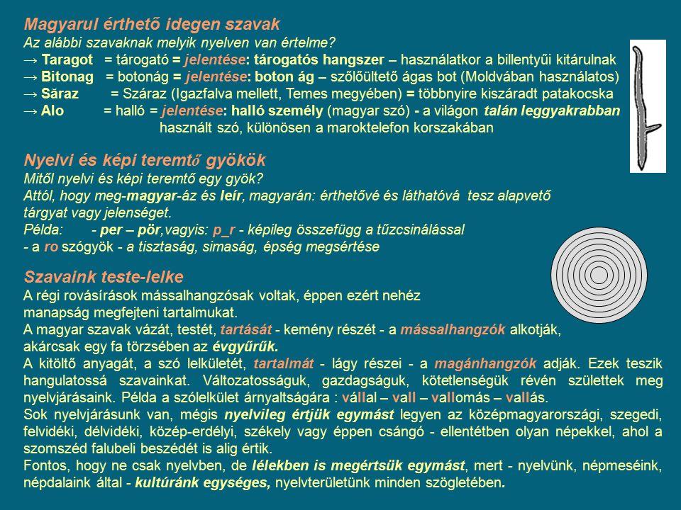 Magyarul érthető idegen szavak Az alábbi szavaknak melyik nyelven van értelme? → Taragot = tárogató = jelentése: tárogatós hangszer – használatkor a b