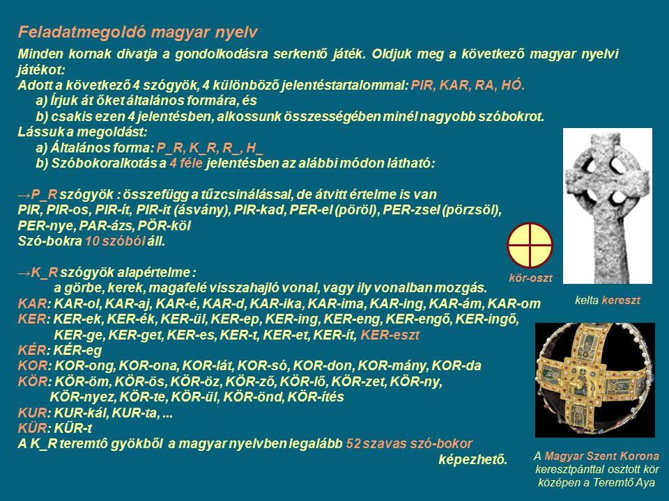 Feladatmegoldó magyar nyelv Minden kornak divatja a gondolkodásra serkentő játék. Oldjuk meg a következő magyar nyelvi játékot: Adott a következő 4 sz