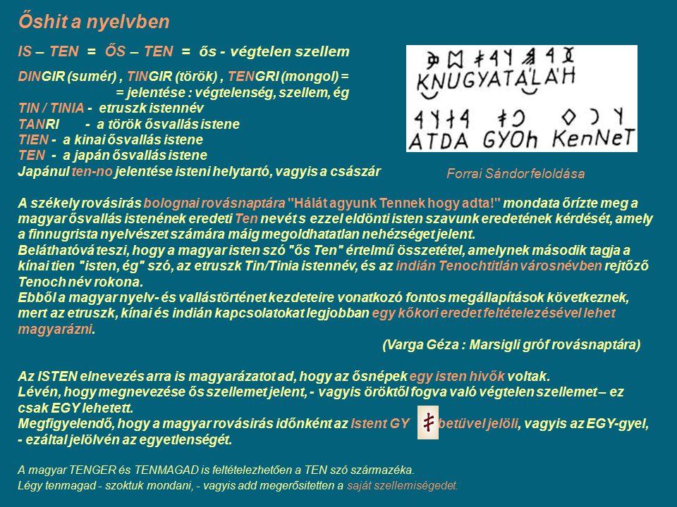 Őshit a nyelvben IS – TEN = ŐS – TEN = ős - végtelen szellem DINGIR (sumér), TINGIR (török), TENGRI (mongol) = = jelentése : végtelenség, szellem, ég