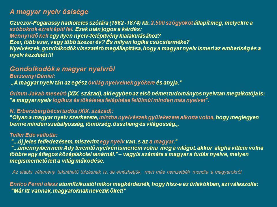 A magyar nyelv ősisége Czuczor-Fogarassy hatkötetes szótára (1862 -1874) kb. 2.500 szógyököt állapít meg, melyekre a szóbokrok ezreit építi fel. Ezek