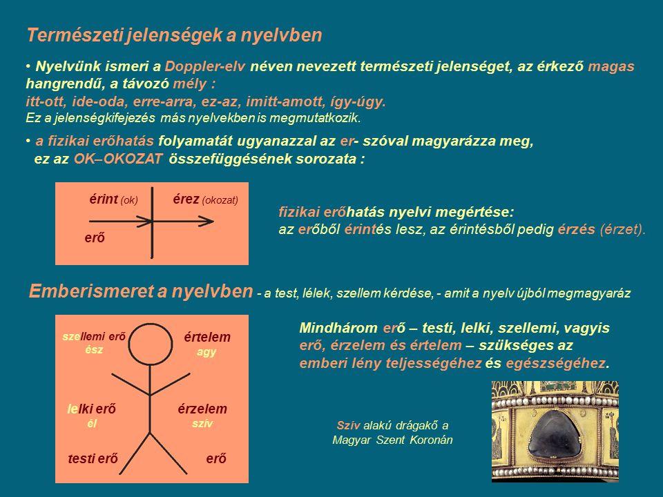 Természeti jelenségek a nyelvben Nyelvünk ismeri a Doppler-elv néven nevezett természeti jelenséget, az érkező magas hangrendű, a távozó mély : itt-ot