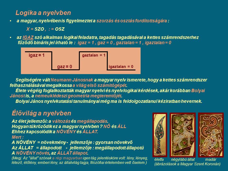 Élővilág a nyelvben Az élet jellemzői: a változás és megállapodás. Hogyan tükröződik ez a magyar nyelvben ? NŐ és ÁLL Ehhez kapcsolódik a NÖVÉNY és ÁL