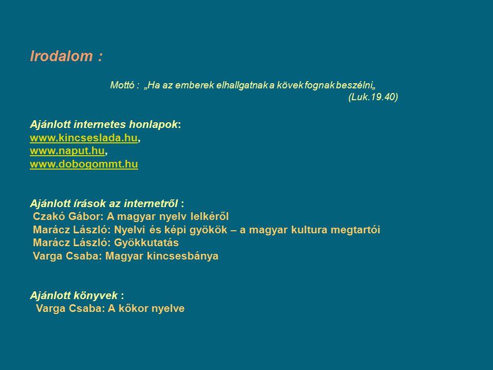 """Irodalom : Mottó : """"Ha az emberek elhallgatnak a kövek fognak beszélni"""" (Luk.19.40) Ajánlott internetes honlapok: www.kincseslada.hu, www.naput.hu, www.dobogommt.hu Ajánlott írások az internetről : Czakó Gábor: A magyar nyelv lelkéről Marácz László: Nyelvi és képi gyökök – a magyar kultura megtartói Marácz László: Gyökkutatás Varga Csaba: Magyar kincsesbánya Ajánlott könyvek : Varga Csaba: A kőkor nyelve www.kincseslada.hu www.naput.hu www.dobogommt.hu"""