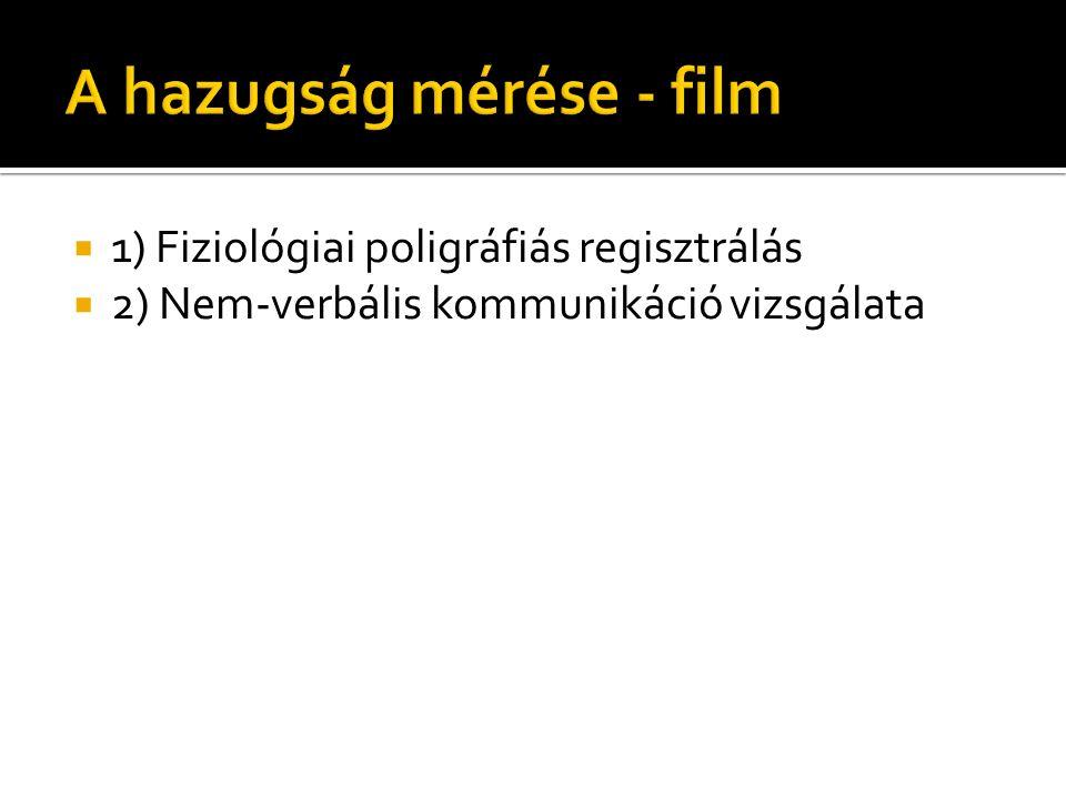  1) Fiziológiai poligráfiás regisztrálás  2) Nem-verbális kommunikáció vizsgálata