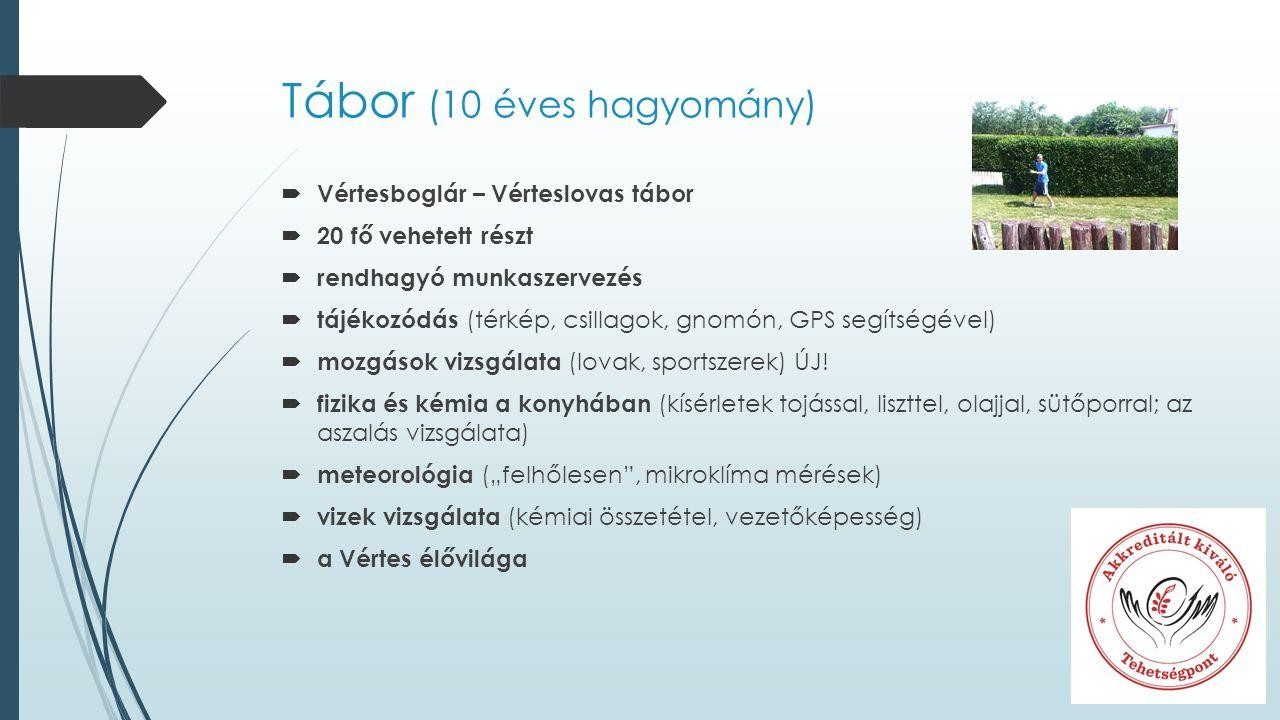 Tábor (10 éves hagyomány)  Vértesboglár – Vérteslovas tábor  20 fő vehetett részt  rendhagyó munkaszervezés  tájékozódás (térkép, csillagok, gnomón, GPS segítségével)  mozgások vizsgálata (lovak, sportszerek) ÚJ.