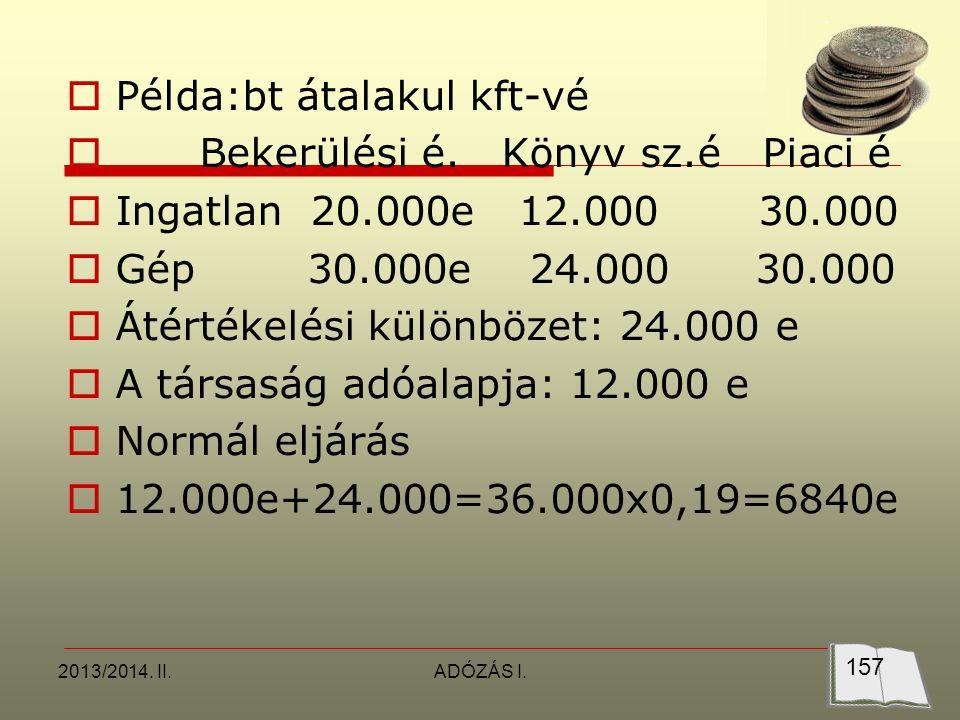 2013/2014. II.ADÓZÁS I.  Példa:bt átalakul kft-vé  Bekerülési é.