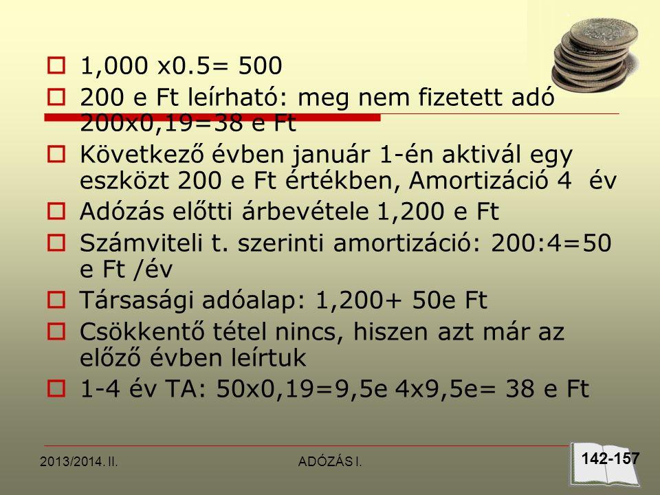 2013/2014. II.ADÓZÁS I.  1,000 x0.5= 500  200 e Ft leírható: meg nem fizetett adó 200x0,19=38 e Ft  Következő évben január 1-én aktivál egy eszközt