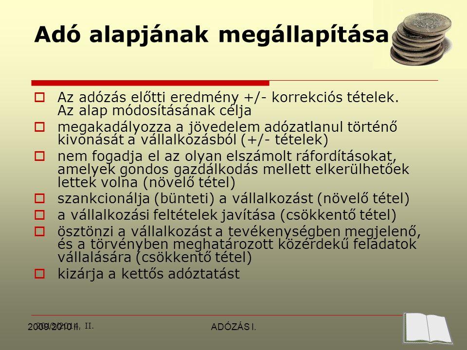 2013/2014. II. 2009/2010 II.ADÓZÁS I.