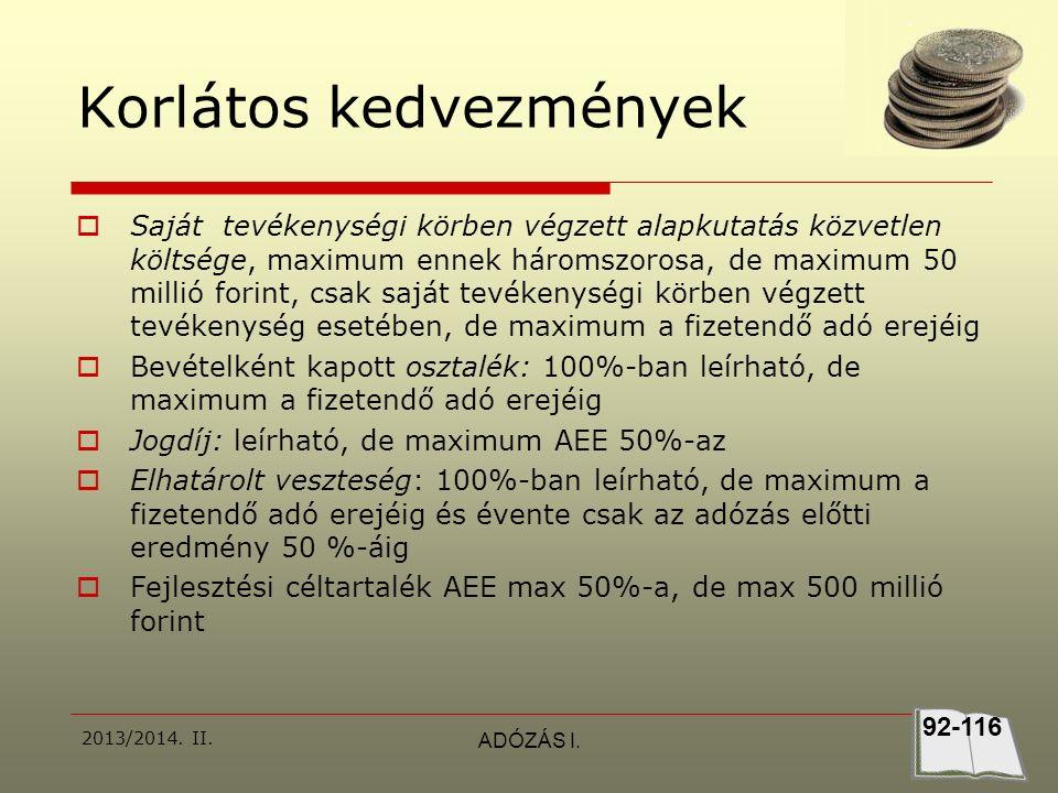2013/2014.II.ADÓZÁS I. Megoldás  1.