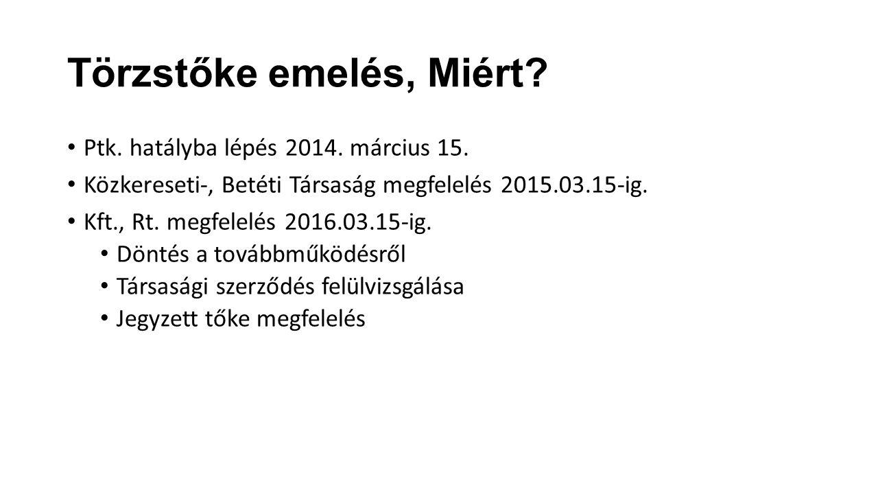 Törzstőke emelés, Miért. Ptk. hatályba lépés 2014.