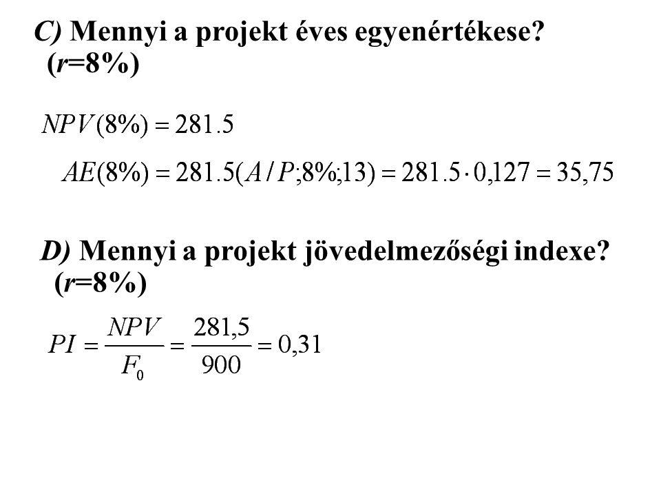 C) Mennyi a projekt éves egyenértékese? (r=8%) D) Mennyi a projekt jövedelmezőségi indexe? (r=8%)
