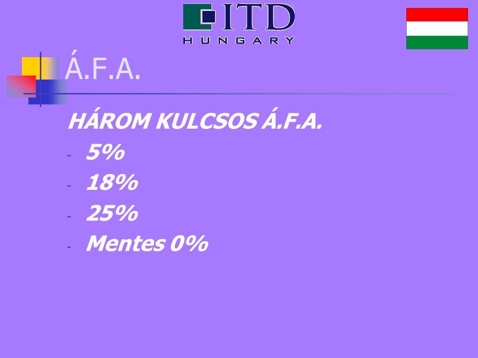Á.F.A. HÁROM KULCSOS Á.F.A. - 5% - 18% - 25% - Mentes 0%