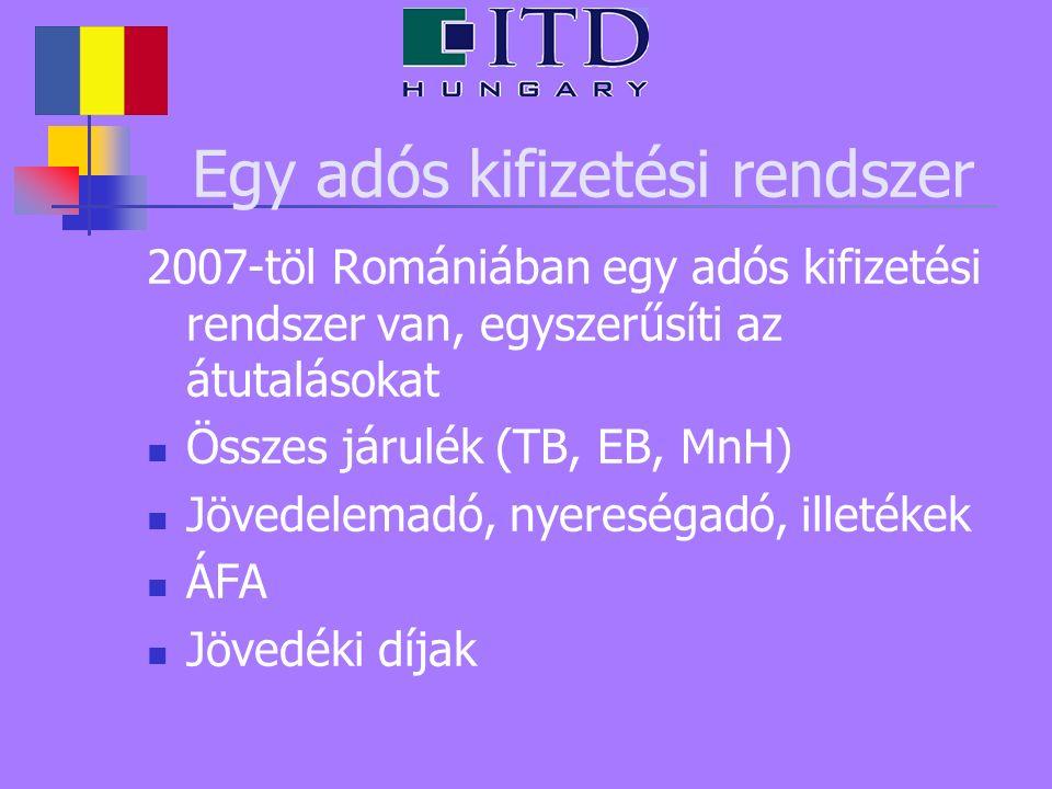 Egy adós kifizetési rendszer 2007-töl Romániában egy adós kifizetési rendszer van, egyszerűsíti az átutalásokat Összes járulék (TB, EB, MnH) Jövedelemadó, nyereségadó, illetékek ÁFA Jövedéki díjak