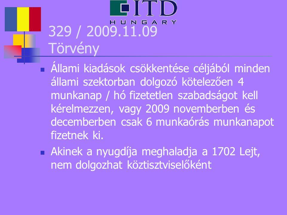 329 / 2009.11.09 Törvény Állami kiadások csökkentése céljából minden állami szektorban dolgozó kötelezően 4 munkanap / hó fizetetlen szabadságot kell