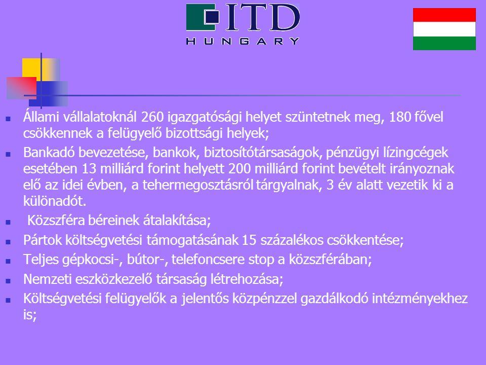 Állami vállalatoknál 260 igazgatósági helyet szüntetnek meg, 180 fővel csökkennek a felügyelő bizottsági helyek; Bankadó bevezetése, bankok, biztosító