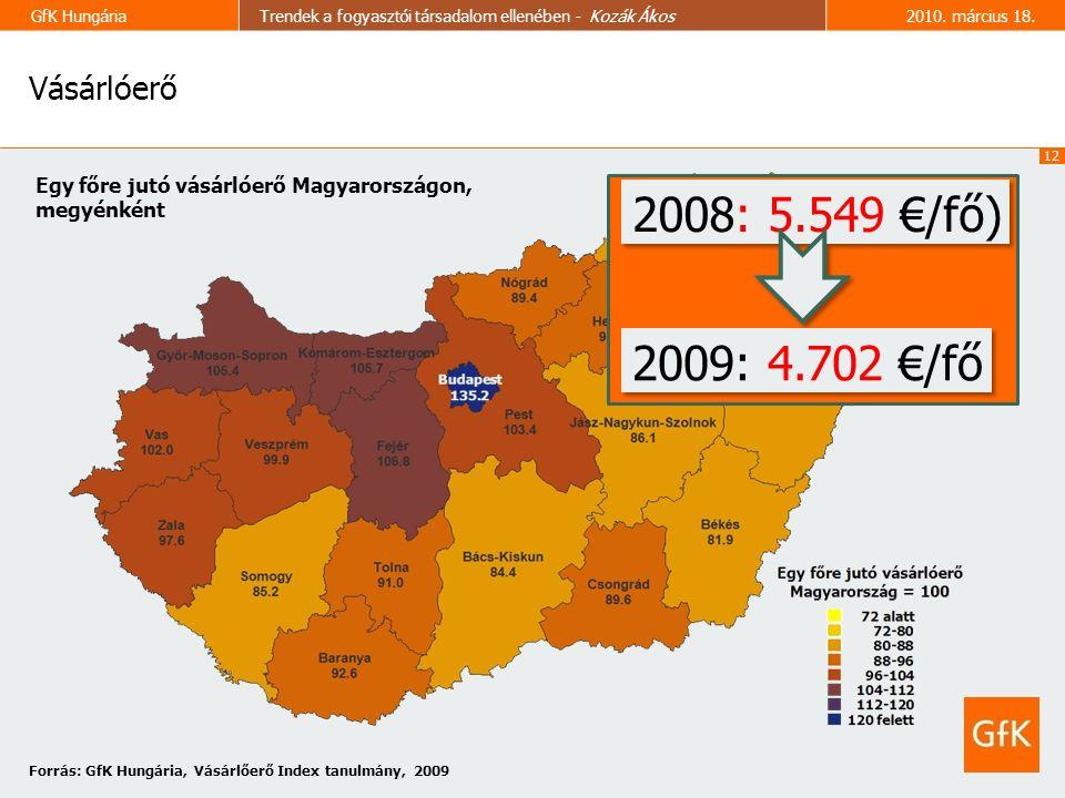 12 GfK HungáriaTrendek a fogyasztói társadalom ellenében - Kozák Ákos2010.