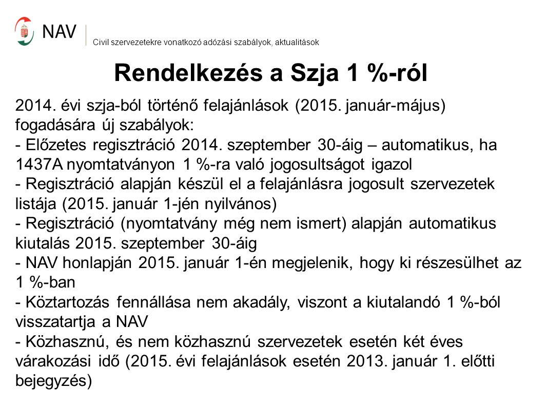 Civil szervezetekre vonatkozó adózási szabályok, aktualitások Rendelkezés a Szja 1 %-ról A 2013.