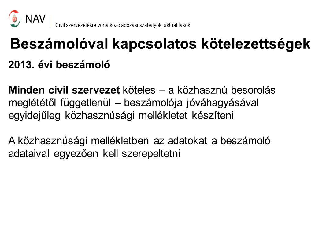 Civil szervezetekre vonatkozó adózási szabályok, aktualitások Beszámolóval kapcsolatos kötelezettségek 2013.