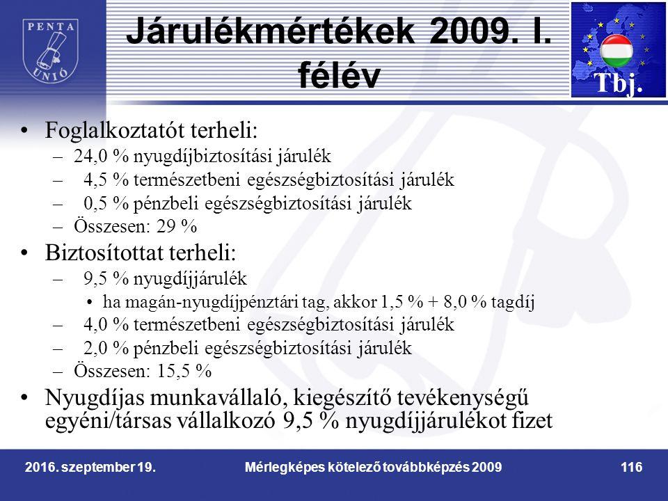 2016. szeptember 19.Mérlegképes kötelező továbbképzés 2009116 Járulékmértékek 2009.