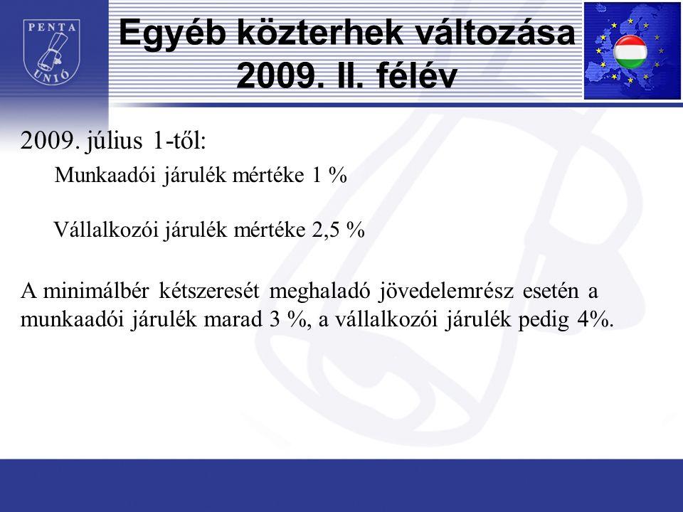 Egyéb közterhek változása 2009. II. félév 2009.