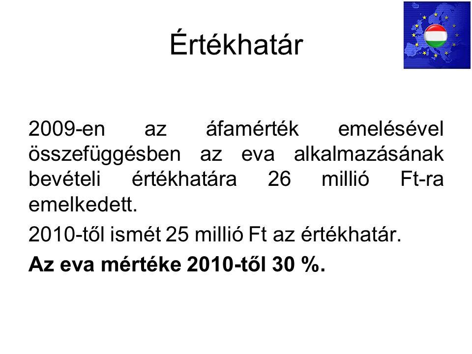Értékhatár 2009-en az áfamérték emelésével összefüggésben az eva alkalmazásának bevételi értékhatára 26 millió Ft-ra emelkedett.