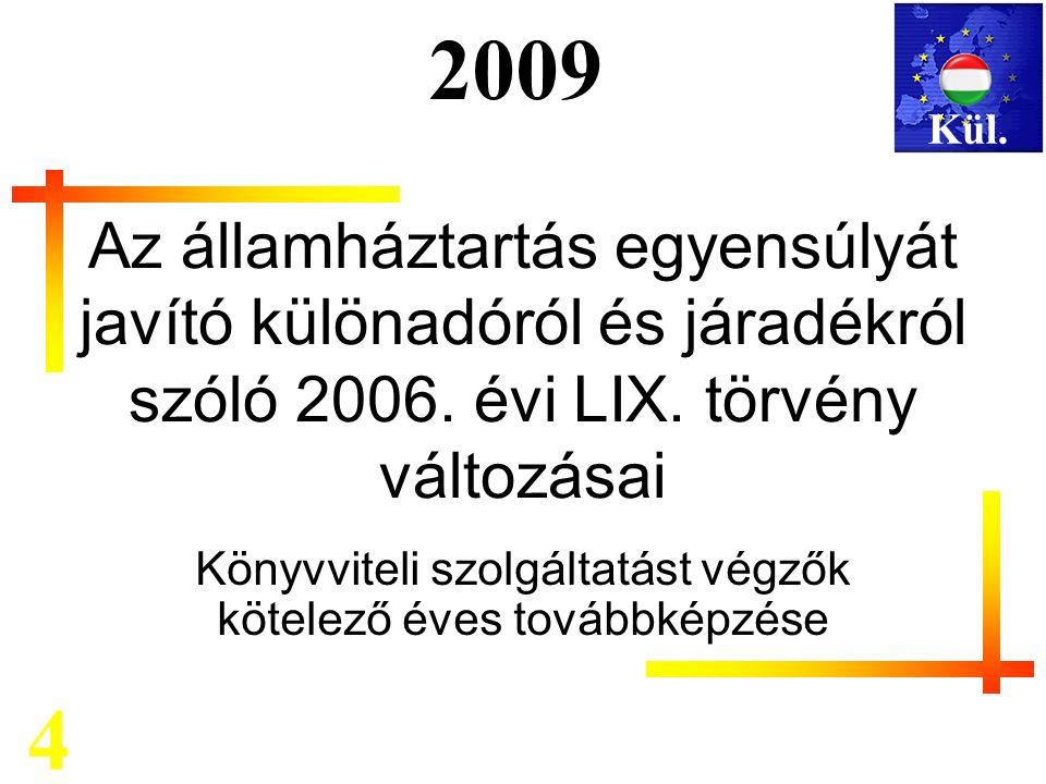 Mérlegképes kötelező továbbképzés 2009 Az államháztartás egyensúlyát javító különadóról és járadékról szóló 2006.