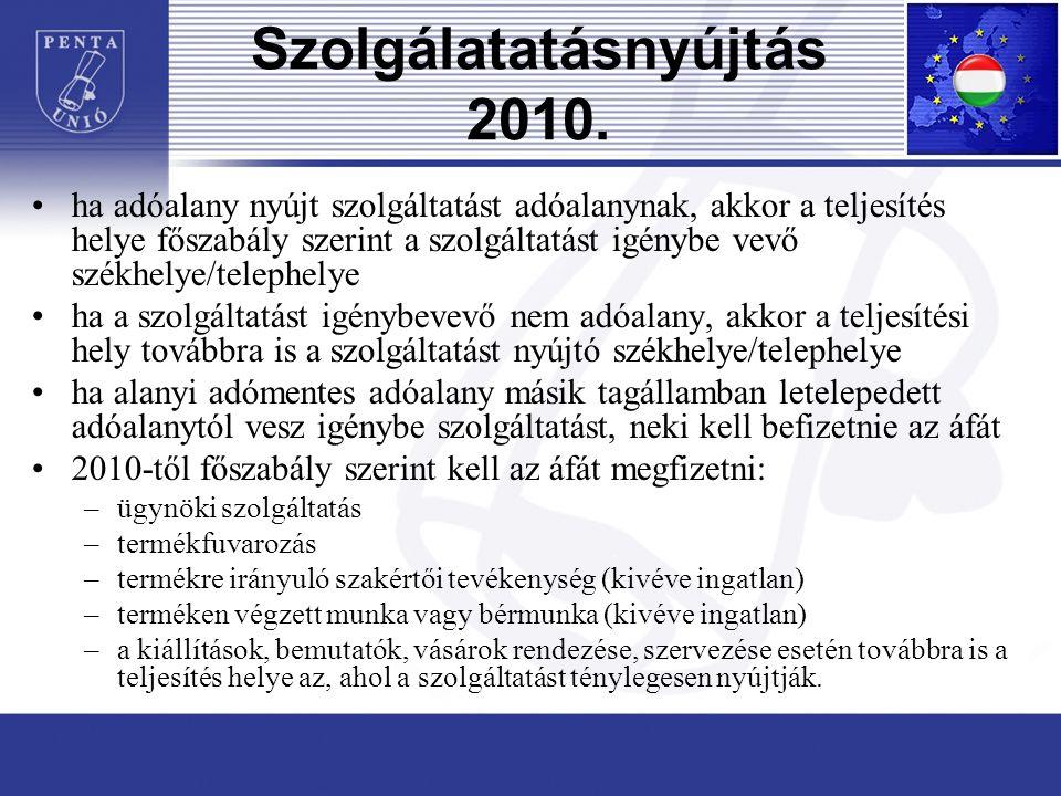 Szolgálatatásnyújtás 2010.