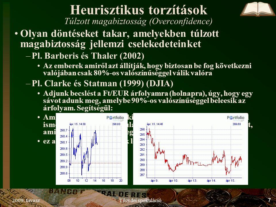2009. tavaszTőzsdei spekuláció7 Heurisztikus torzítások Túlzott magabiztosság (Overconfidence) Olyan döntéseket takar, amelyekben túlzott magabiztossá