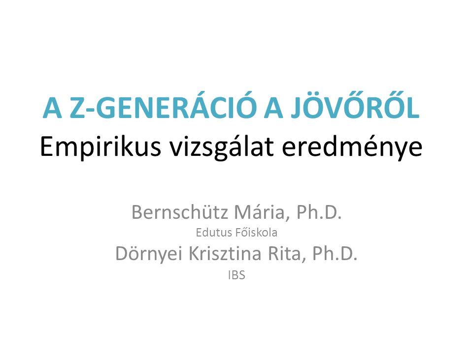 A Z-GENERÁCIÓ A JÖVŐRŐL Empirikus vizsgálat eredménye Bernschütz Mária, Ph.D. Edutus Főiskola Dörnyei Krisztina Rita, Ph.D. IBS