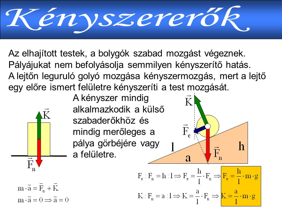  Lineáris törvénye Lineáris törvénye  Tapadási súrlódás Tapadási súrlódás  Csúszási súrlódás Csúszási súrlódás  Közegellenállás Közegellenállás  Gravitációs erőtörvény Gravitációs erőtörvény  Kepler I.