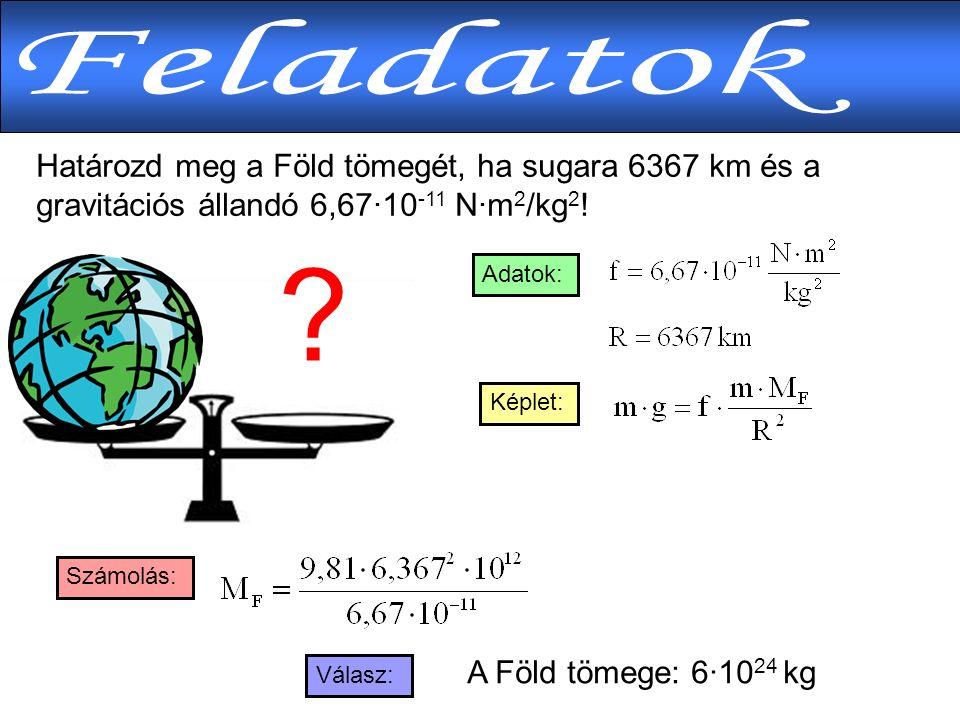 Határozd meg a Föld tömegét, ha sugara 6367 km és a gravitációs állandó 6,67·10 -11 N·m 2 /kg 2 .