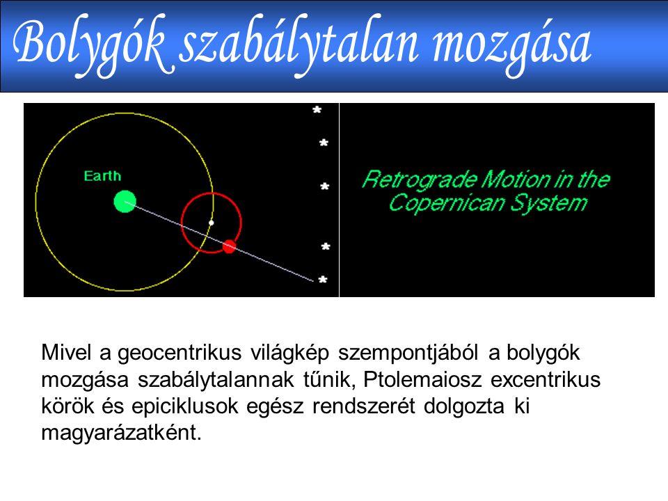 Mivel a geocentrikus világkép szempontjából a bolygók mozgása szabálytalannak tűnik, Ptolemaiosz excentrikus körök és epiciklusok egész rendszerét dolgozta ki magyarázatként.