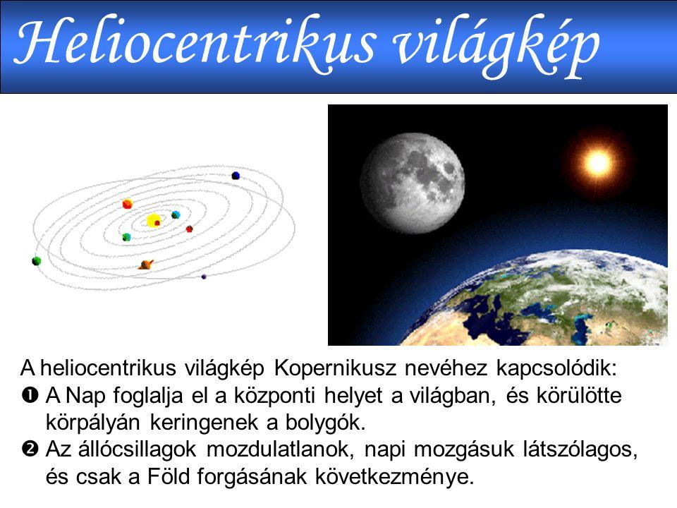 A heliocentrikus világkép Kopernikusz nevéhez kapcsolódik:  A Nap foglalja el a központi helyet a világban, és körülötte körpályán keringenek a bolygók.