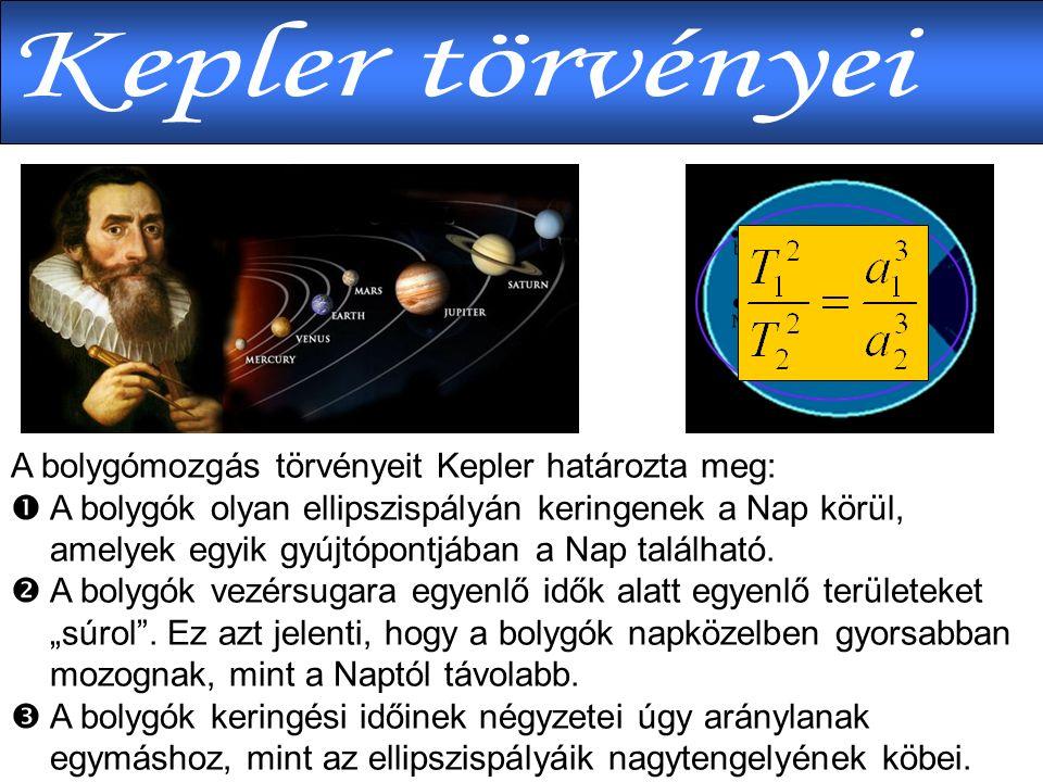 A bolygómozgás törvényeit Kepler határozta meg:  A bolygók olyan ellipszispályán keringenek a Nap körül, amelyek egyik gyújtópontjában a Nap található.