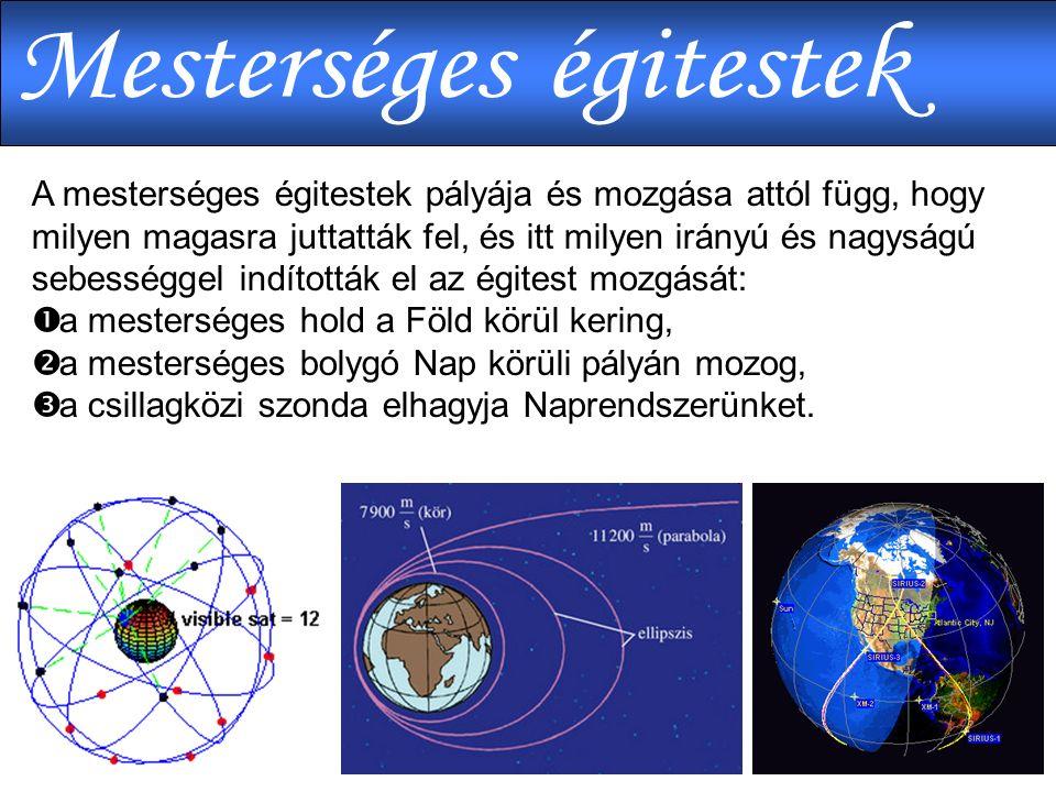 A mesterséges égitestek pályája és mozgása attól függ, hogy milyen magasra juttatták fel, és itt milyen irányú és nagyságú sebességgel indították el az égitest mozgását:  a mesterséges hold a Föld körül kering,  a mesterséges bolygó Nap körüli pályán mozog,  a csillagközi szonda elhagyja Naprendszerünket.
