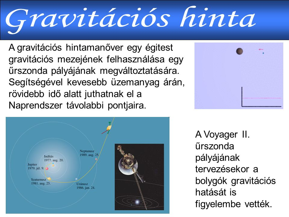 A Voyager II. űrszonda pályájának tervezésekor a bolygók gravitációs hatását is figyelembe vették.