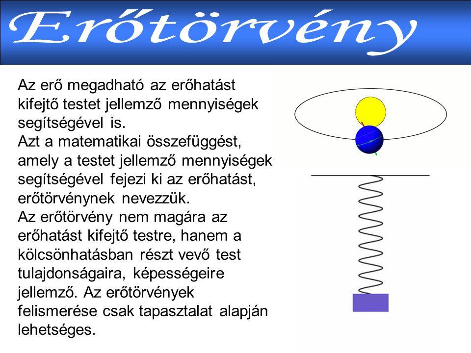 Az erő megadható az erőhatást kifejtő testet jellemző mennyiségek segítségével is.