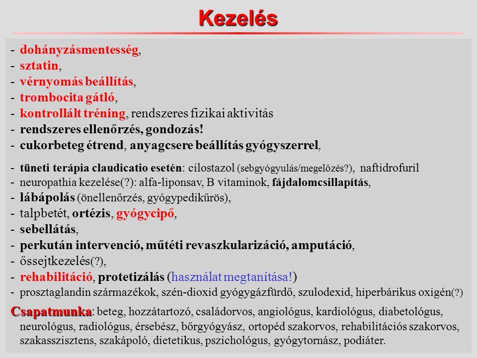 Kezelés -dohányzásmentesség, -sztatin, -vérnyomás beállítás, -trombocita gátló, -kontrollált tréning, rendszeres fizikai aktivitás -rendszeres ellenőrzés, gondozás!, -cukorbeteg étrend, anyagcsere beállítás gyógyszerrel, -tüneti terápia claudicatio esetén: cilostazol (sebgyógyulás/megelőzés ), naftidrofuril -neuropathia kezelése( ): alfa-liponsav, B vitaminok, fájdalomcsillapítás, -lábápolás (önellenőrzés, gyógypedikűrös), -talpbetét, ortézis, gyógycipő, -sebellátás, -perkután intervenció, műtéti revaszkularizáció, amputáció, -őssejtkezelés ( ), -rehabilitáció, protetizálás (használat megtanítása!) -prosztaglandin származékok, szén-dioxid gyógygázfürdő, szulodexid, hiperbárikus oxigén ( ) Csapatmunka Csapatmunka: beteg, hozzátartozó, családorvos, angiológus, kardiológus, diabetológus, neurológus, radiológus, érsebész, bőrgyógyász, ortopéd szakorvos, rehabilitációs szakorvos, szakasszisztens, szakápoló, dietetikus, pszichológus, gyógytornász, podiáter.
