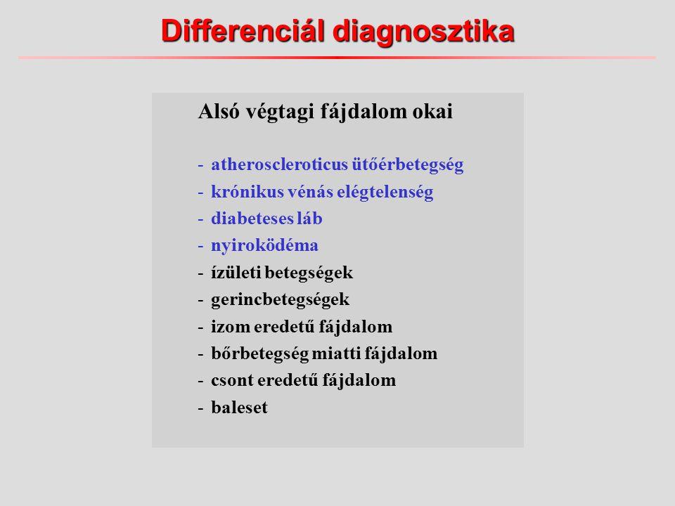 Alsó végtagi fájdalom okai -atheroscleroticus ütőérbetegség -krónikus vénás elégtelenség -diabeteses láb -nyiroködéma -ízületi betegségek -gerincbetegségek -izom eredetű fájdalom -bőrbetegség miatti fájdalom -csont eredetű fájdalom -baleset Differenciál diagnosztika