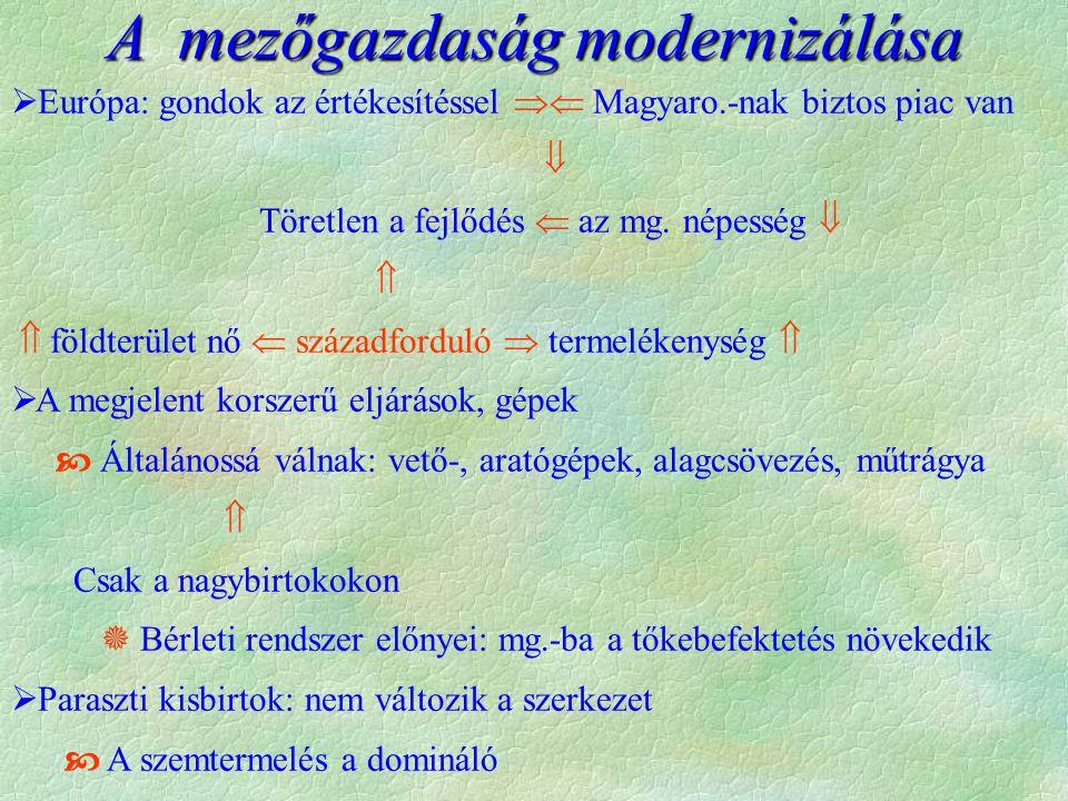 A mezőgazdaság modernizálása  Európa: gondok az értékesítéssel  Magyaro.-nak biztos piac van  Töretlen a fejlődés  az mg.