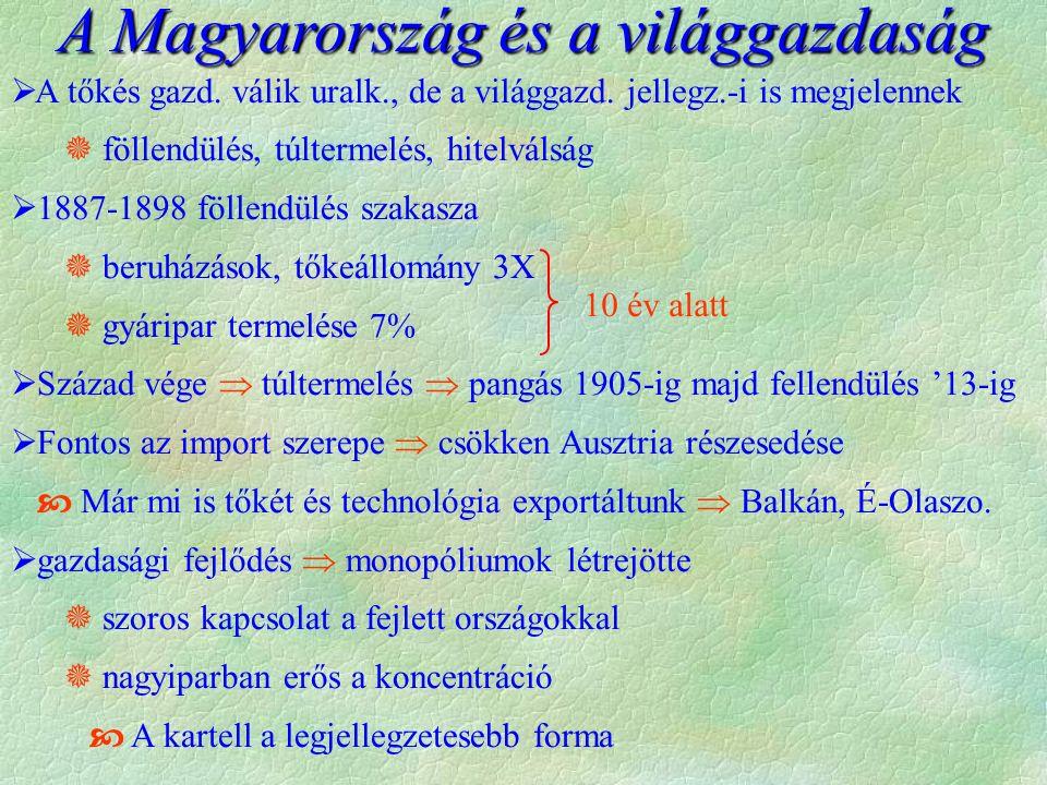 A Magyarország és a világgazdaság  A tőkés gazd. válik uralk., de a világgazd.