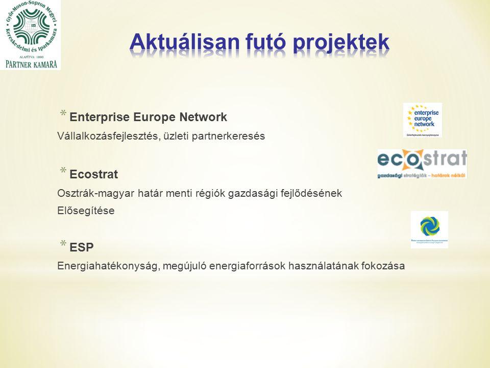 * Enterprise Europe Network Vállalkozásfejlesztés, üzleti partnerkeresés * Ecostrat Osztrák-magyar határ menti régiók gazdasági fejlődésének Elősegítése * ESP Energiahatékonyság, megújuló energiaforrások használatának fokozása