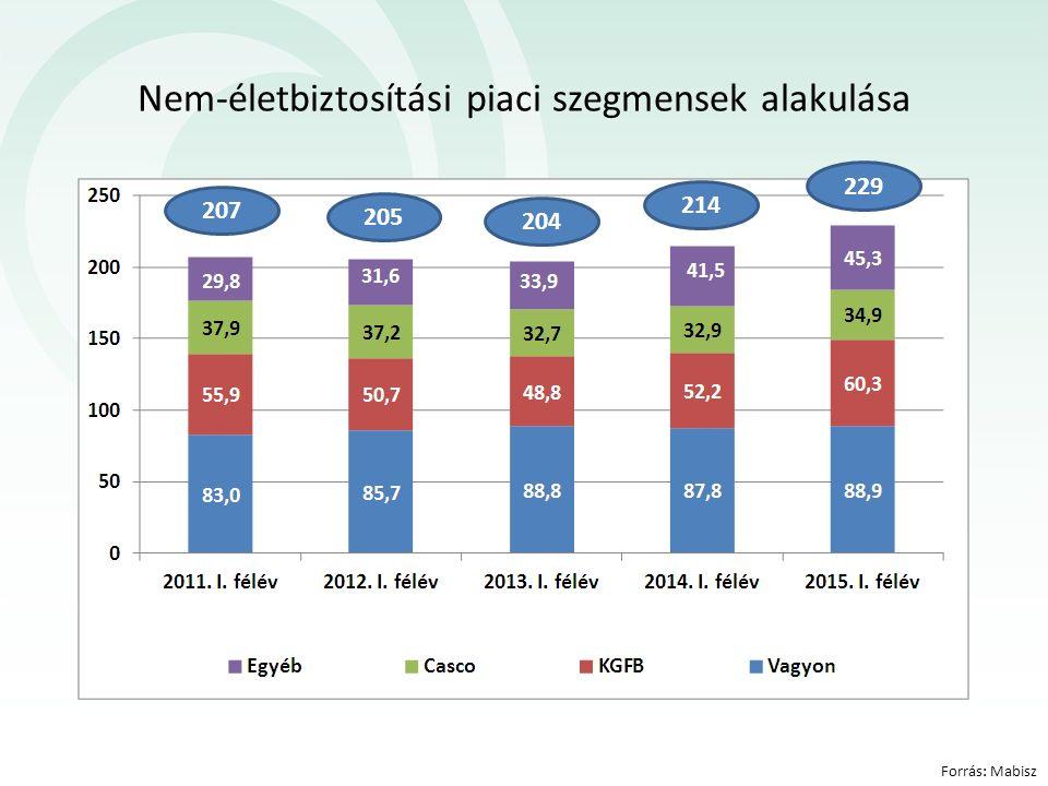 Forrás: Mabisz Nem-életbiztosítási piaci szegmensek alakulása 214 204 205 207 229