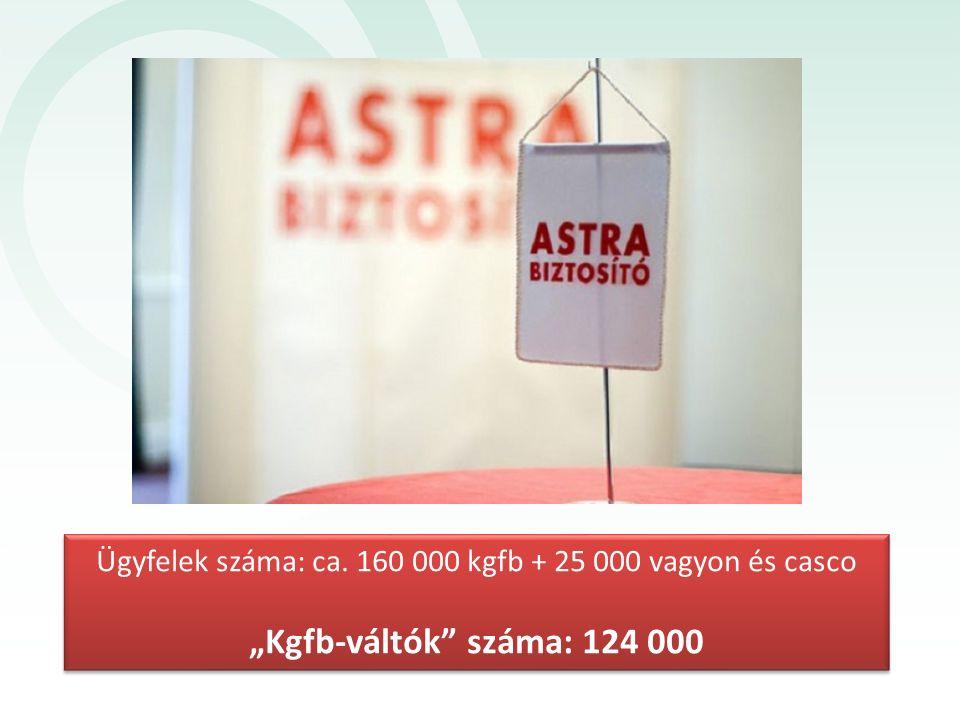 """Ügyfelek száma: ca. 160 000 kgfb + 25 000 vagyon és casco """"Kgfb-váltók"""" száma: 124 000 Ügyfelek száma: ca. 160 000 kgfb + 25 000 vagyon és casco """"Kgfb"""