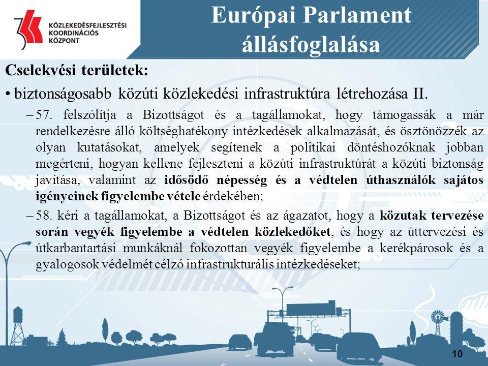Európai Parlament állásfoglalása Cselekvési területek: biztonságosabb közúti közlekedési infrastruktúra létrehozása II.