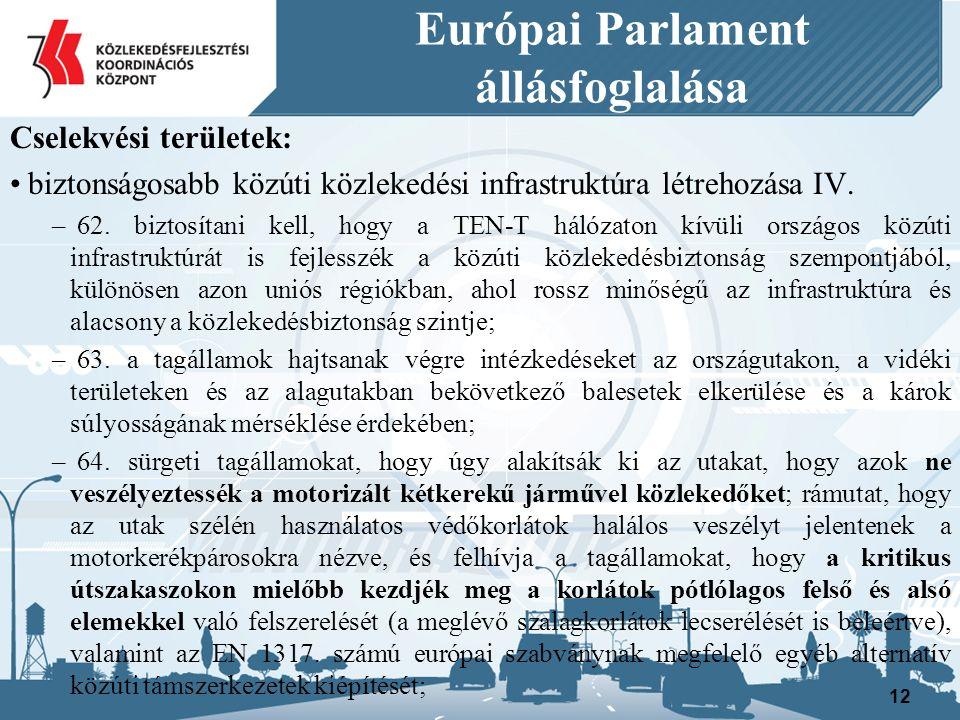 Európai Parlament állásfoglalása Cselekvési területek: biztonságosabb közúti közlekedési infrastruktúra létrehozása IV.