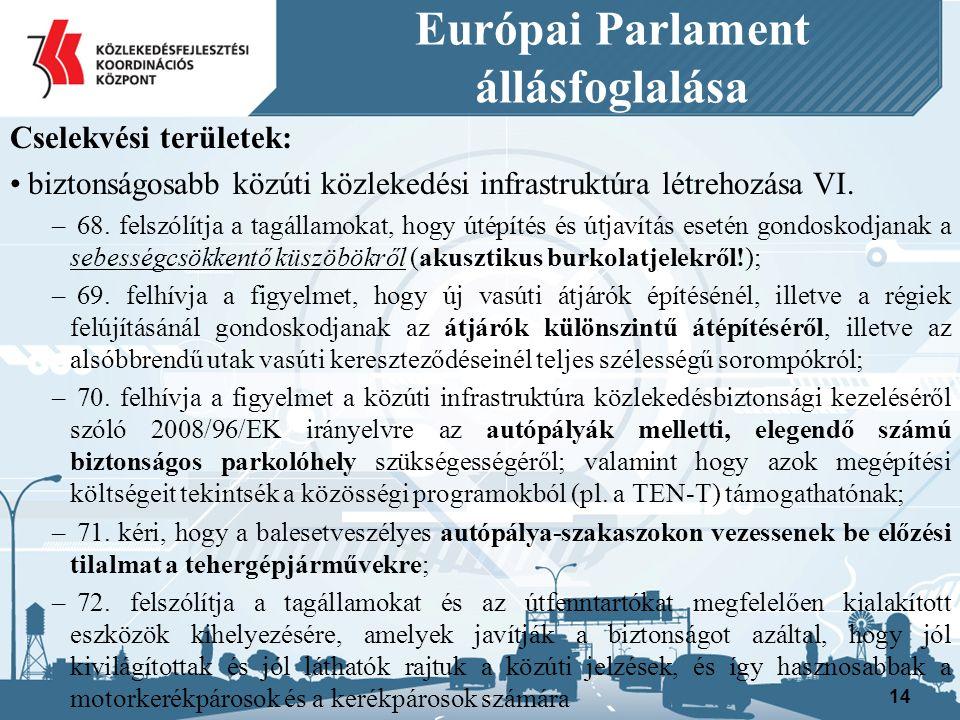 Európai Parlament állásfoglalása Cselekvési területek: biztonságosabb közúti közlekedési infrastruktúra létrehozása VI.