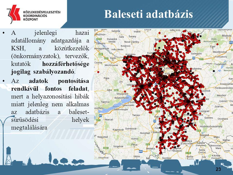 Baleseti adatbázis A jelenlegi hazai adatállomány adatgazdája a KSH, a közútkezelők (önkormányzatok), tervezők, kutatók hozzáférhetősége jogilag szabályozandó.