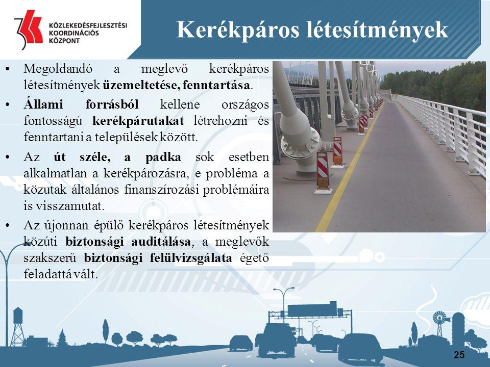 Kerékpáros létesítmények Megoldandó a meglevő kerékpáros létesítmények üzemeltetése, fenntartása.